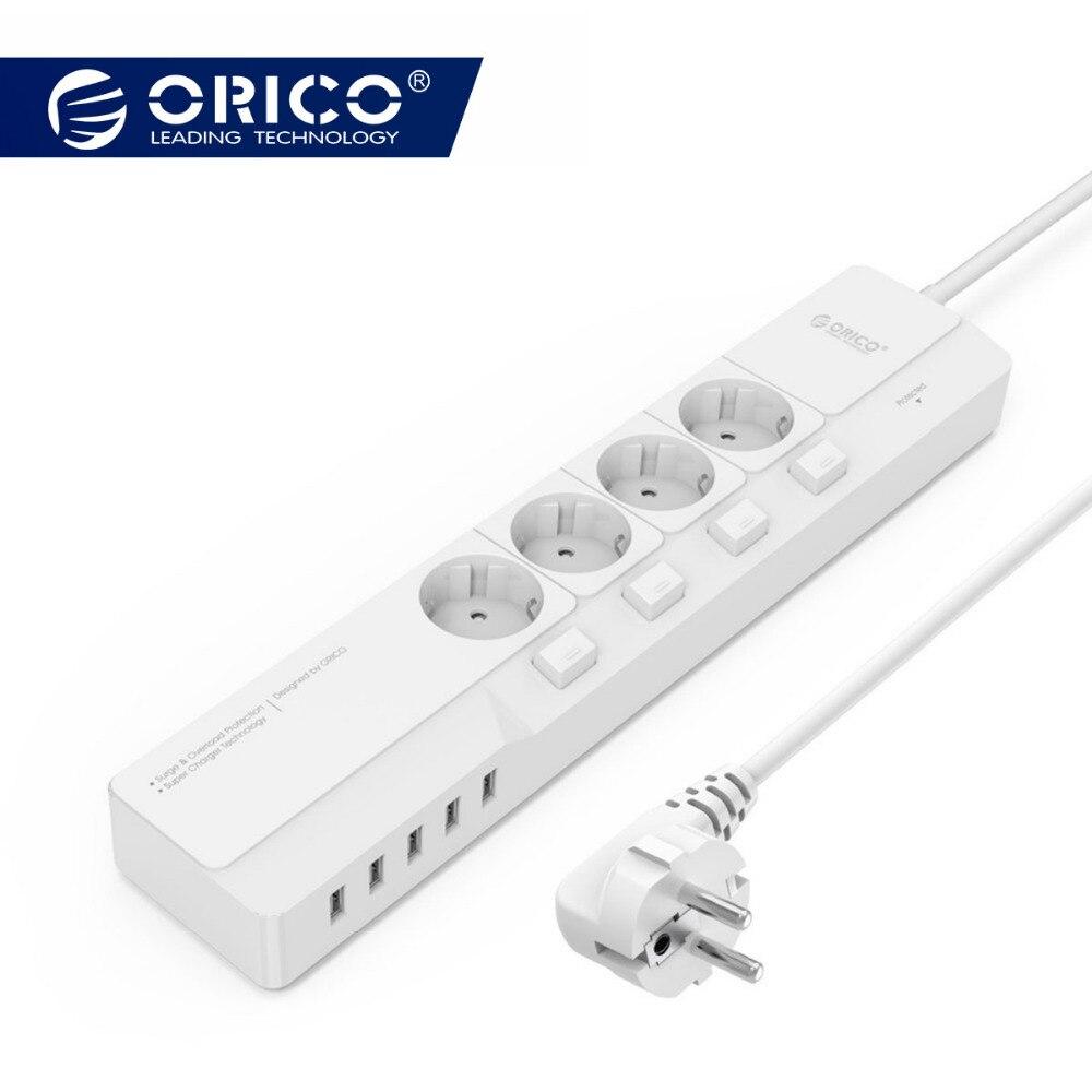 ORICO prise intelligente 4 prise de courant alternatif 5 port usb parasurtenseur adaptateur universel Voyage Multi Plug Accueil Électronique carte d'extension