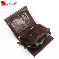 CONTACT S Genuine Cowhide Leather Men Wallets Top Fashion Brand Design Wallet Crazy Horse Card Holder