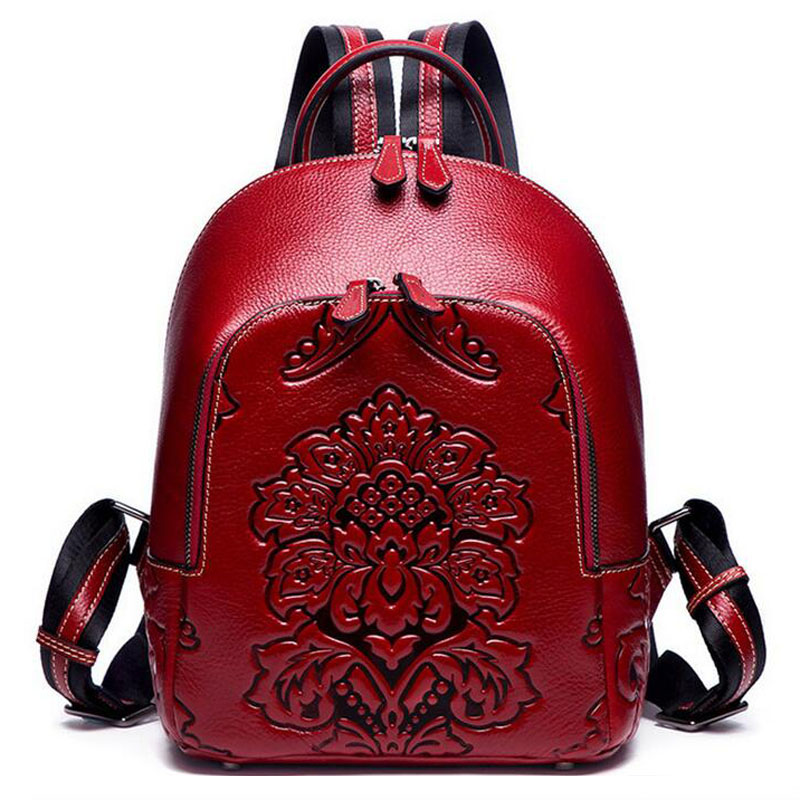 new Genuine Leather Women Backpack High Quality Embossed Cow Leather Natural Skin Vintage School Bag luxury