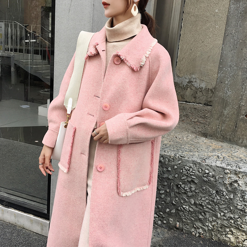 Coréen laine manteau femmes Double face laine manteaux rose Long automne hiver femme veste Casaco Feminino 2019 Z1157 - 4
