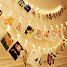 20 светодиодный фото клипы Строка свет фея света для подвешивания фотографий Памятка теплый белый свет украшения для Спальня свадебные гирлянда