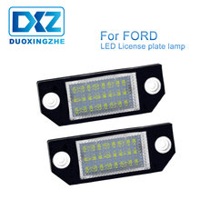 DXZ 2Pcs Auto LED License Number Plate Light Lamp Canbus Error Free White For Ford Focus C-MAX MK2 Car accesorios 12V 24V