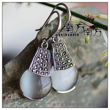 Sterling silver jewelry LAOYINJIANG bangkok thai silver , handmade opal earrings,birthday gifts christmas gift