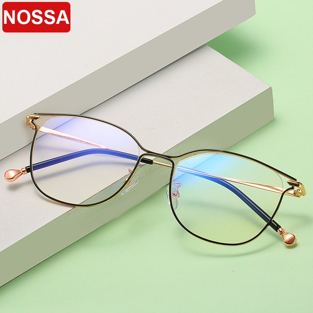 2019 new ladies optical mirror cat eye fashion can be equipped with myopia glasses frame trend personality square metal glasses.