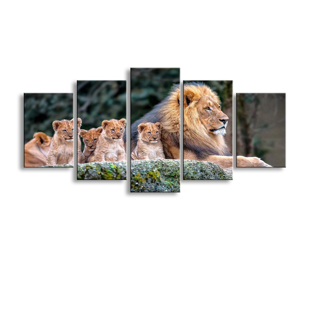 5 pieces high definition print animals lion canvas painting poster and wall art living room