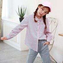 123aae46a6d Новая мода полосатый ребенок большой блузка для девочек осень 2018  хлопковые рубашки для девочек-подростков