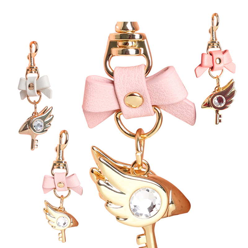 Cardcaptor Sakura 20th Anniversary Bowknot Golden Jewelry Keychain Pendant Bag Charms Handbag Accessory Purse Ornament