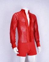 Modern dance Latin dance man big V collar striped trousers top ML0802 hollow