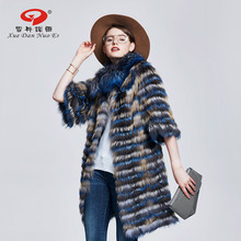 2017 New arrival real fur long coats for women natural fur jacket half sleeve coat in real fur strip fur coat hot sale