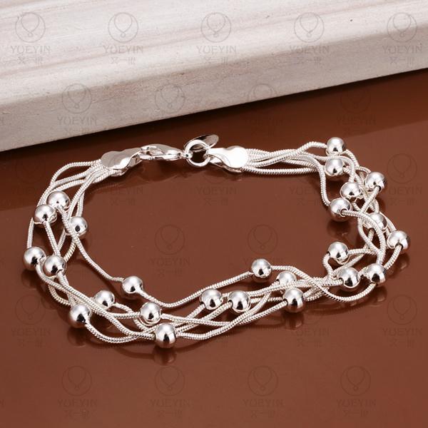 Charm Bracelets Link Chain silver plated bracelet for women men unisex jewelry hand chain H234 Bridal Jewelry pulseras 1