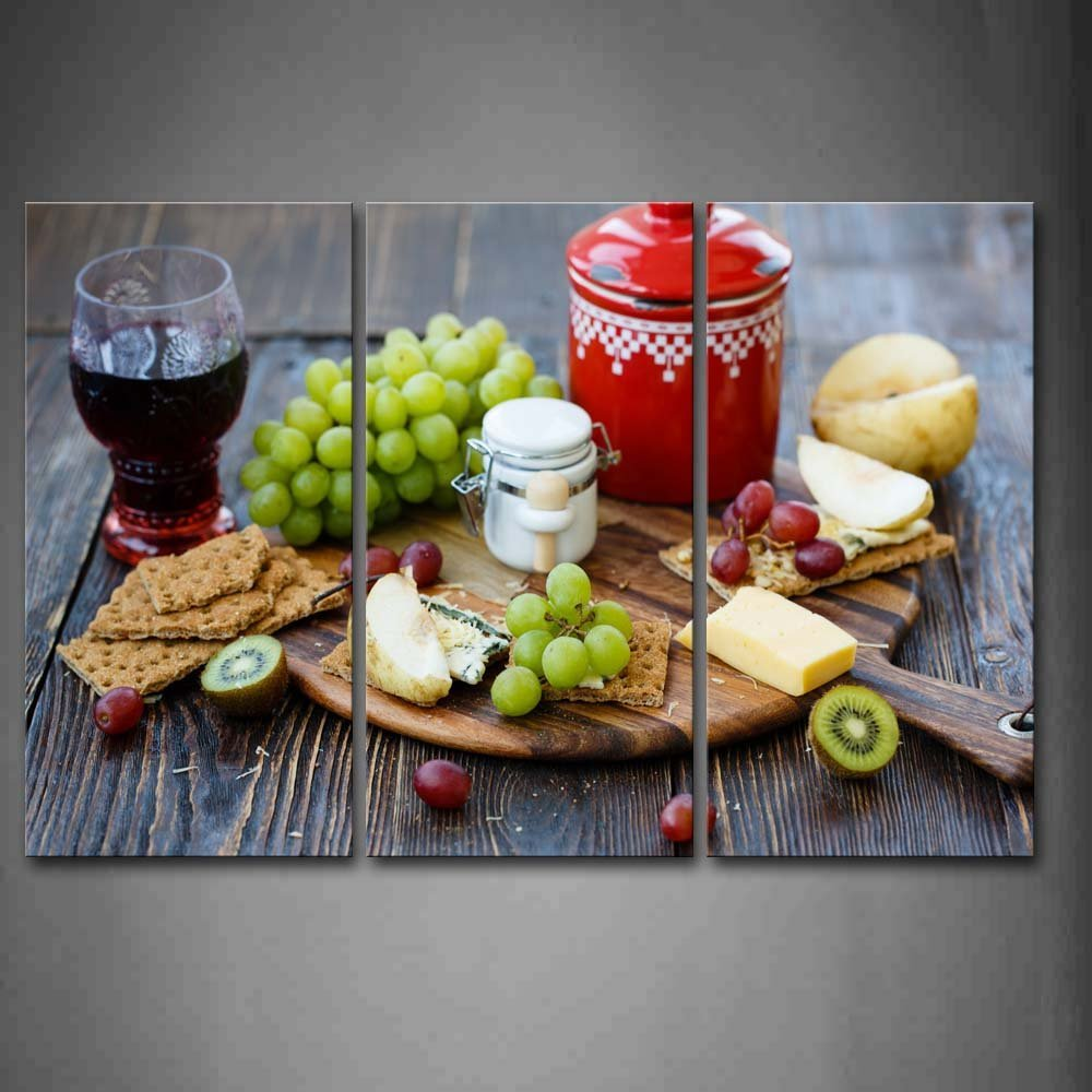 Canvas Painting Wine And Grapes Cheeses Wall Art Painting The