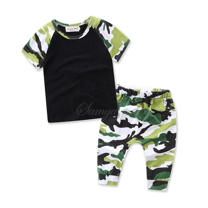 Samgami baby2 шт Одежда для маленьких мальчиков летние Одежда для новорожденных мальчиков детей Комплект одежды для маленьких мальчиков 100% хлопок футболка + Штаны