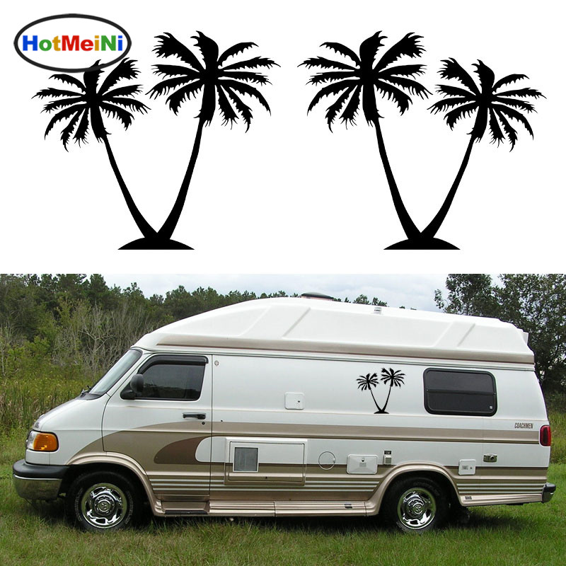 HotMeiNi 2x Coconut Palm Trees Graphic Happy Crazy Bold Warm Tropical Styling Car Sticker Camper Van Trailer Truck Holiday Decal