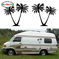2x Coconut Palm Trees Graphic Happy Crazy Bold Warm Tropical Styling Car Sticker Camper Van RV