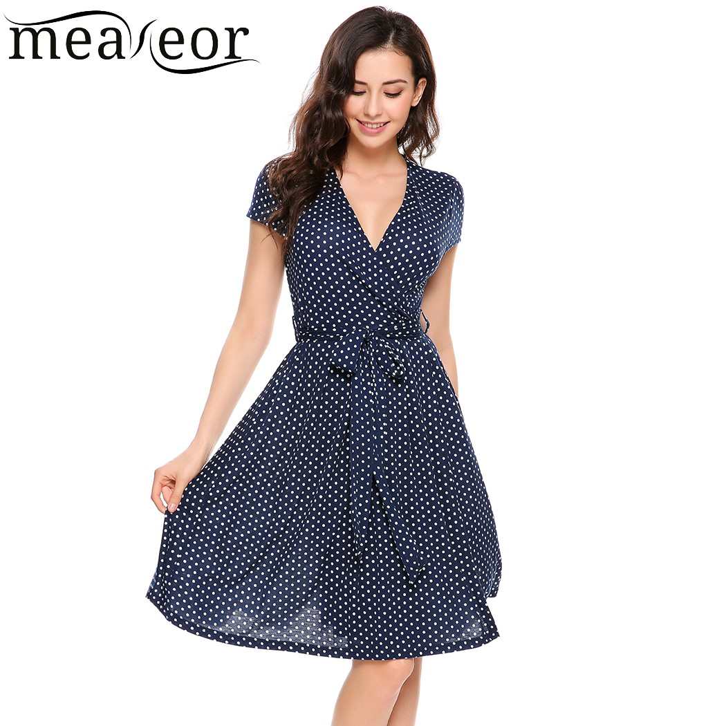 Meaneor Elegant Dot A-Line Pleated Dress with Belt 2017 New Women Summer V-Neck Short Slim Casual DressVestidos