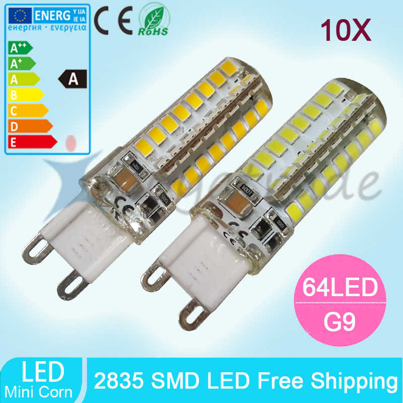 10Pcs Led G9 3014 8W 2835 SMD 64 Leds G9 220V 110V Candle Led G9 Lamp Crystal Silicone Candle light Bulb Free Shipping