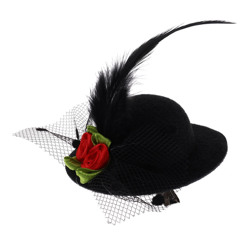 New Fashion Hat Shaped Flower Adornment Girls Feathered Hat Hair Clips Children's Hair Accessories Fashion Hairpins