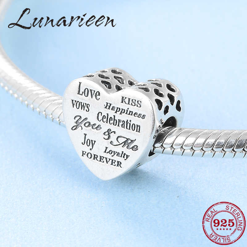 925 Sterling Silver Heart-shaped love, happiness, meaning DIY fashion beads Fit Original Pandora Charm Bracelet Jewelry making