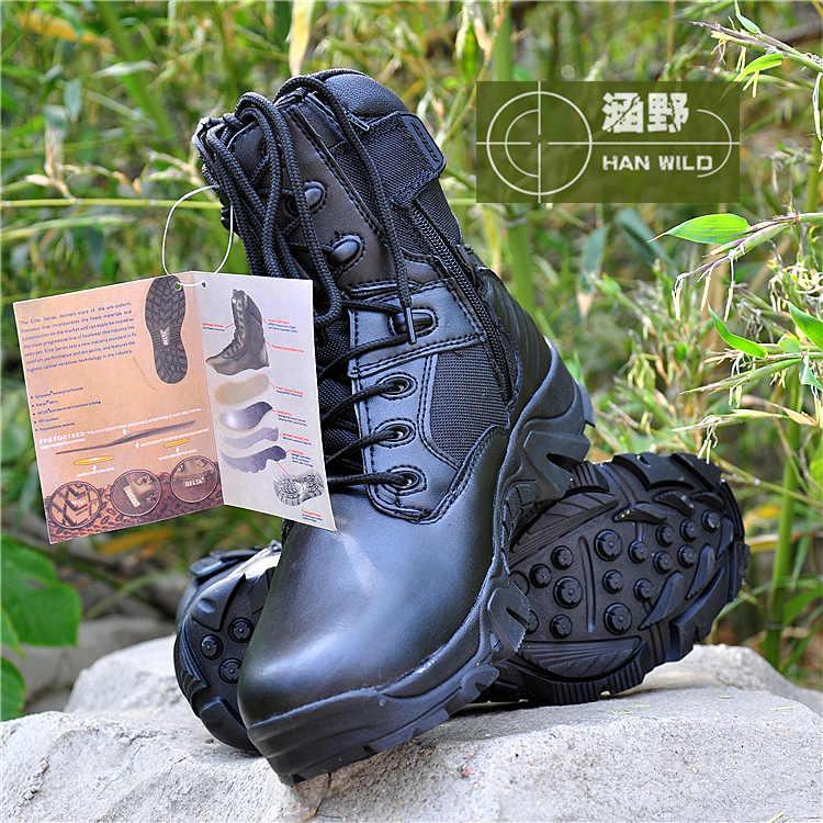 Taktik asker botu Erkekler Için Deri Lace Up Ön askeri postal Erkek Yüksek Top Iş Güvenliği Ayakkabıları yarım çizmeler Erkekler