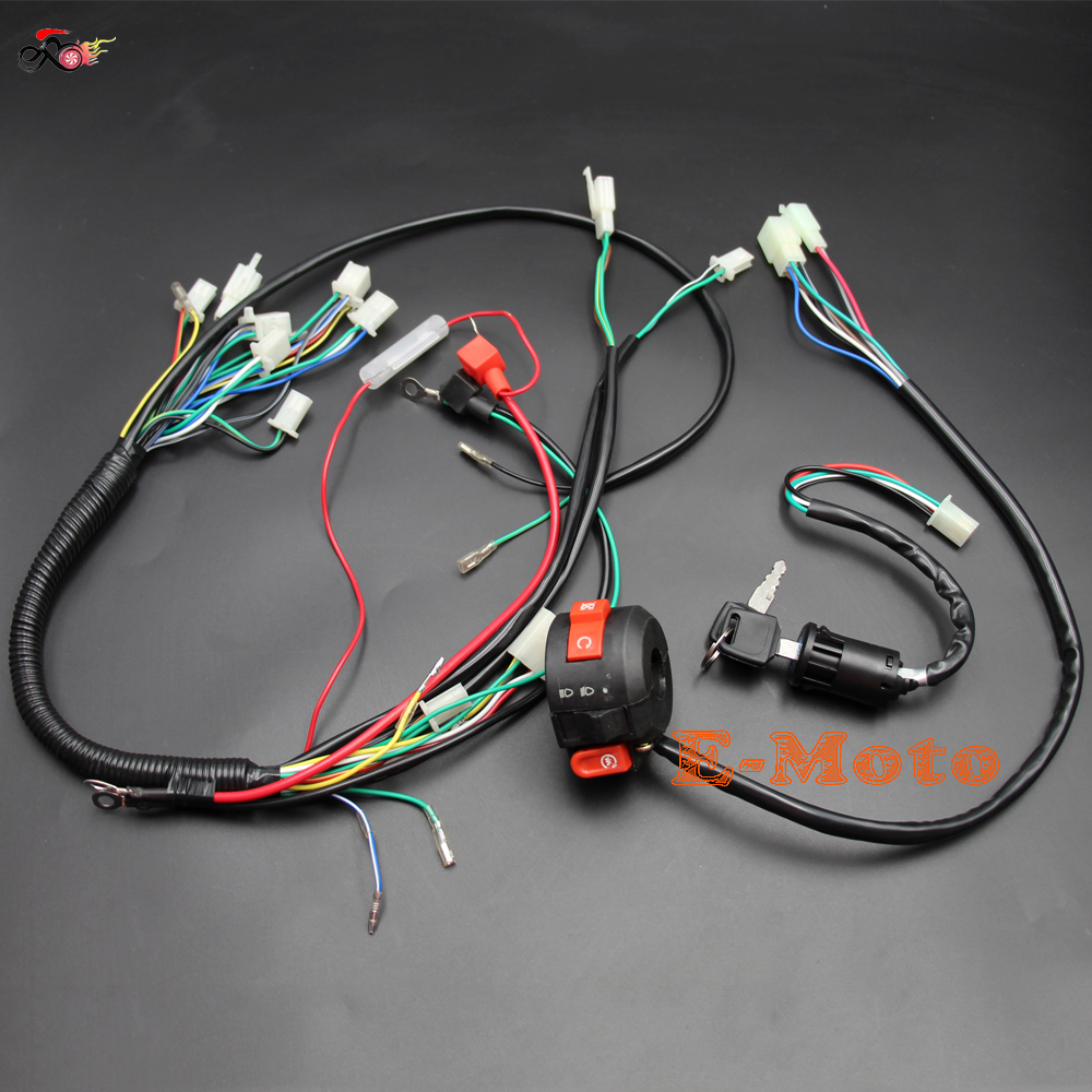 small resolution of aliexpress com buy electrics wiring harness loom quad cluster switch key switch 50cc 70cc 90cc 110cc 125cc 140cc atv quad bike buggy go kart new e from