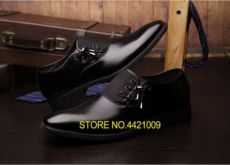 Lace-Up Men's Dress Shoes Size 38-47 Black Classic Pointed Toe Oxfords For Men Fashion Mens Business Party Shoes Formal Dress hot sale mens genuine leather cow lace up male formal shoes dress shoes pointed toe footwear multi color plus size 37 44 yellow
