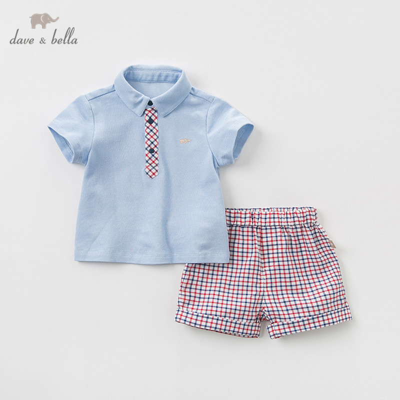 DB11501 Dave bella summer baby boys clothing sets fashion children solid suits infant high quality clothes boys outfit