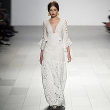Pasarelas de milán Nueva Alta Calidad del Diseñador de la Pista 2018 de La Moda de Primavera Mujeres Sexy Party Girls Vestido Largo Ahueca Hacia Fuera los Vestidos de Encaje