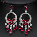 Luxurious Women Wedding Party Jewelry Big Statement Crystal Long Tassel Dangling Drop Earrings With High Quality Red Stone E252