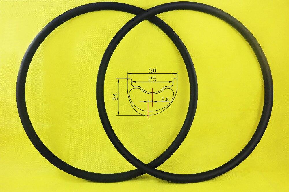 SALE 29er Light XC Asymmetric hookless MTB Carbon Rims 30mm width 24mm depth 2 6mm offset