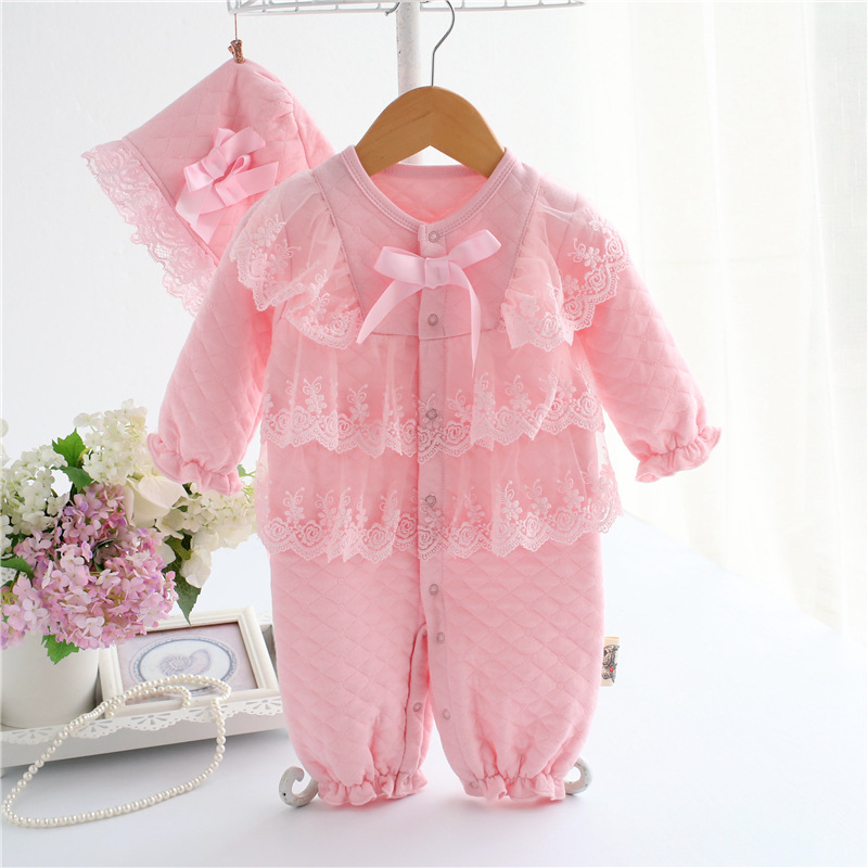 Baby Girl Cotton Lace Princess Romper 2017 New Children Clothes Infant Kids Playsuit Clothing Girls Pink Red Jumpsuit with Hat cute baby girl ruffles romper newborn children hello kitty playsuit clothing infant kids girls cartoon jumpsuit clothes with hat