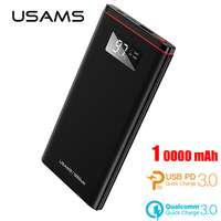 USAMS PD+QC 3.0 18W Quick Charge 3.0 Power Bank 10000mAh Dual USB LCD Powerbank External Battery Charger Phone Tablets Poverbank