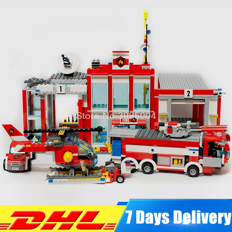 Lepin 02052 The Fire Station Set 60110 Genuine City Series 1029Pcs Building Blocks Bricks Educational Toys DIY Christmas Gift ghost at the fire station 6