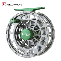 Piscifun Platte Green Fly Fishing Reel 5/6 7/8 9/10 WT CNC Machine Cut Fishing Reel Large Arbor Aluminum Fly Reel