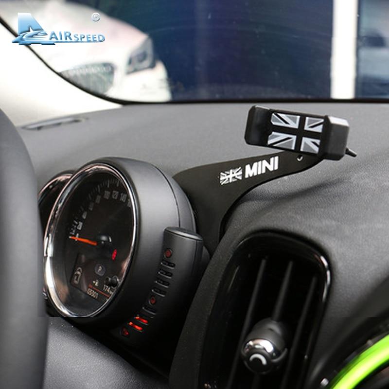 Fluggeschwindigkeit Grau Union Jack Halterung für Mini Cooper F55 F56 F54 Zubehör Auto Handy Halter Auto Handy Tablet Montieren klicken