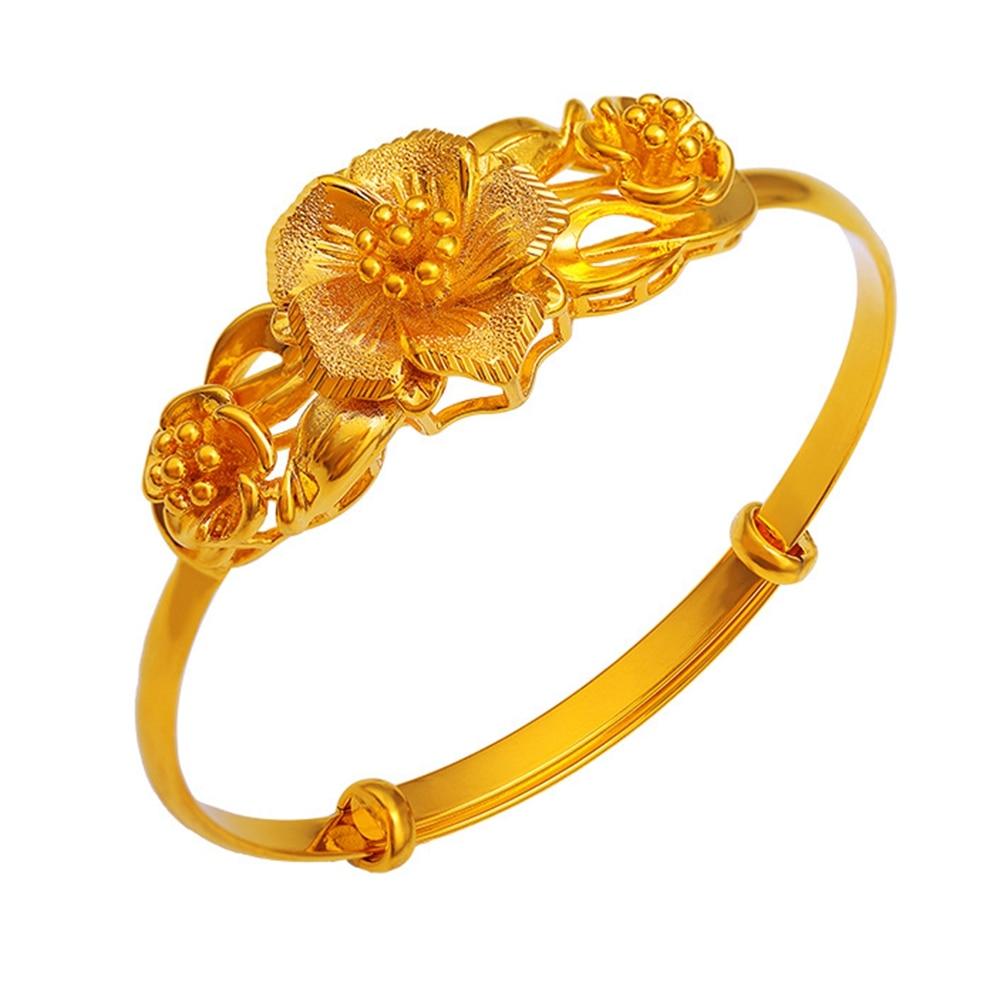 Women Adjustable Bangle Fashion Dubai Golden Flower Jewelry Gold
