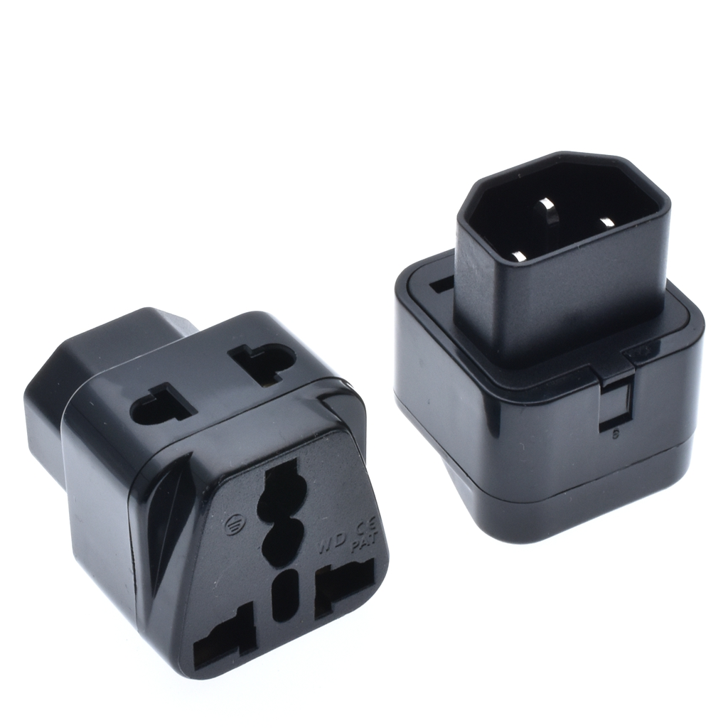 IEC320-C13 male to C8 female PDU UPS power adapter extension travel safe ^D