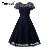 Tonval Vintage 2017 Floral Lace Pleated Dress Women Short Sleeve Elegant Backless Party Sexy Dresses Retro