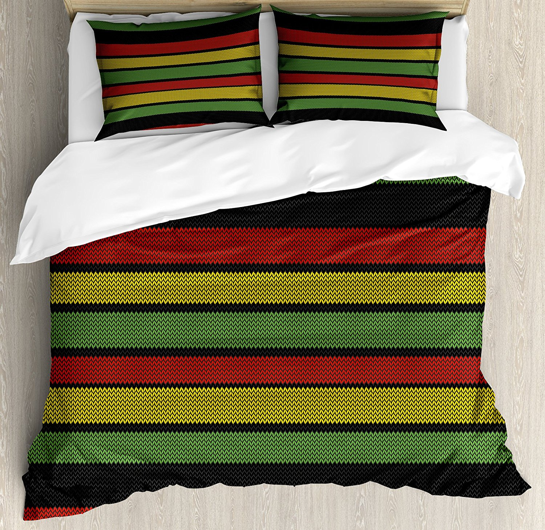 Edredon Bob Marley.111 56 32 De Descuento Conjunto De Funda De Edredon Jamaiquino Con Efecto De Punto Rayas Rastafarias Elementos Abstractos De Cultura Caribena