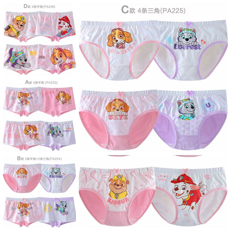 4pcs/set Genuine Paw Patrol Boxers Underpants Action Figure Skye Everest Marshall Rubble Children Cotton Panties Girls Underwear