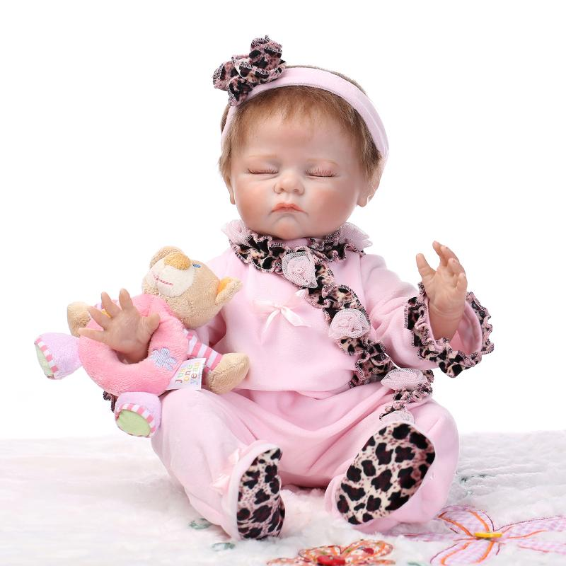 55cm silicone reborn babies dolls Soft Reborn Bebe sleeping newborn baby lifelike best baby doll toys gifts Bonecas Brinquedos english world 2 grammar practice book