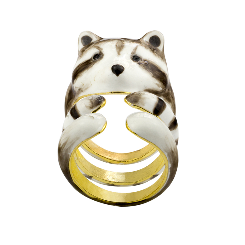 Unique Male Cat Ring Set Gold Color 3pcs Enamel Wedding Love Rings For Women Christmas Gifts