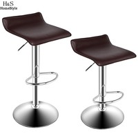 2 PCS High Quality Chrome Modern Lifting Bar Chairs Cashier Chairs Natural Flowing Lines Adjustable Salon