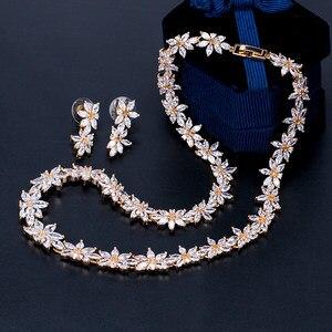Image 4 - Brazaletes para damas marca WEIMANJINGDIAN Zirconia cúbica brillante CZ collar de flores de cristal y pendientes conjuntos de joyería nupcial de boda