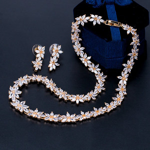 Image 4 - WEIMANJINGDIAN Brand Sparkling Cubic Zirconia CZ Crystal Flower Necklace and Earring Wedding Bridal Jewelry Sets