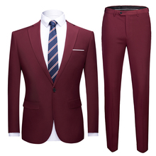 Solid color single breasted Formal Prom Blazer with pant Marriage Tuxedo male 2 Piece suit set Terno wedding mens slim fit