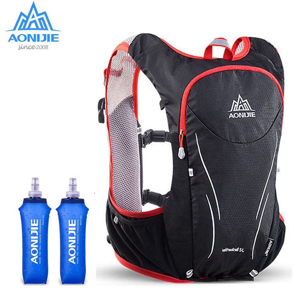 AONIJIE 5L Outdoor Backpack Marathon Vest Pockets Bag for Running Rucksack Cycling Safety Gear With 1