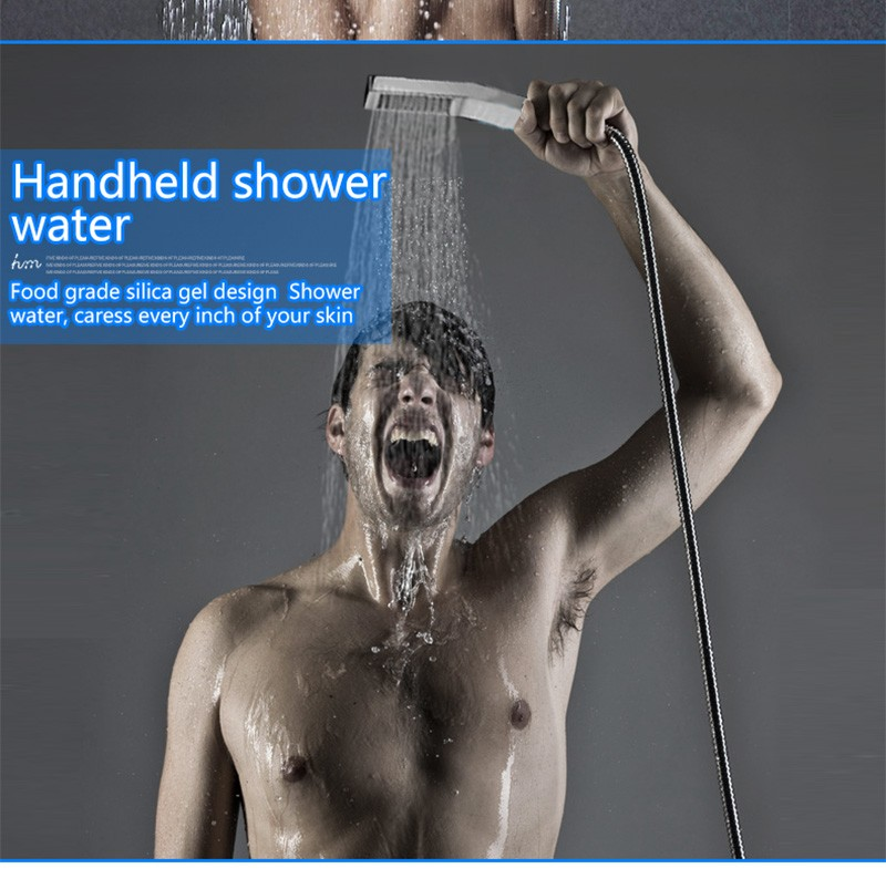 LED Shower Mixer Set Thermostat Faucet Shower Shower Head Powered by Water Square Saving Water Chromed Spout (15)