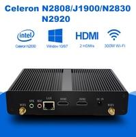 Mini PC Intel Celeron J1900 Quad Cores Barebone Fanless Micro Desktops Computer Household Nettops Dual HDMI