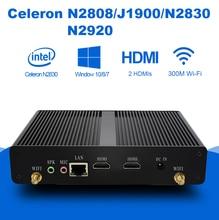Mini PC Intel Celeron J1900 Quad cores 4G RAM Fanless Micro Desktops Computer Household Nettops Dual