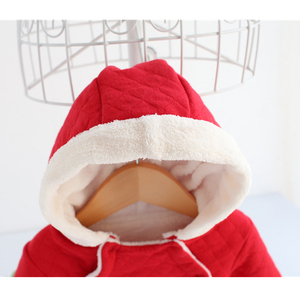 Image 3 - newborn baby girl winter clothes suit fleece coral cotton padded baby rompers thick warm with hood 0 1 year Casaco de inverno